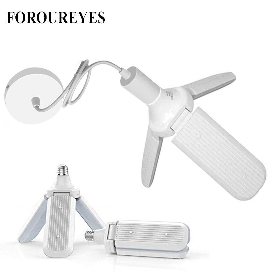 45W LED Bulb With E27 Lamp Holder SMD2835 228leds Foldable Fan Blade Angle Adjustable  Lamp Home Energy Saving Lights