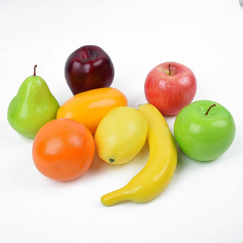 Manusia Hidup Set Tahan Lama Buatan Buah Meja DIY Dekorasi Plastik Palsu Dapur Baru Panas Apple Simulasi Oranye Kerajinan Makanan