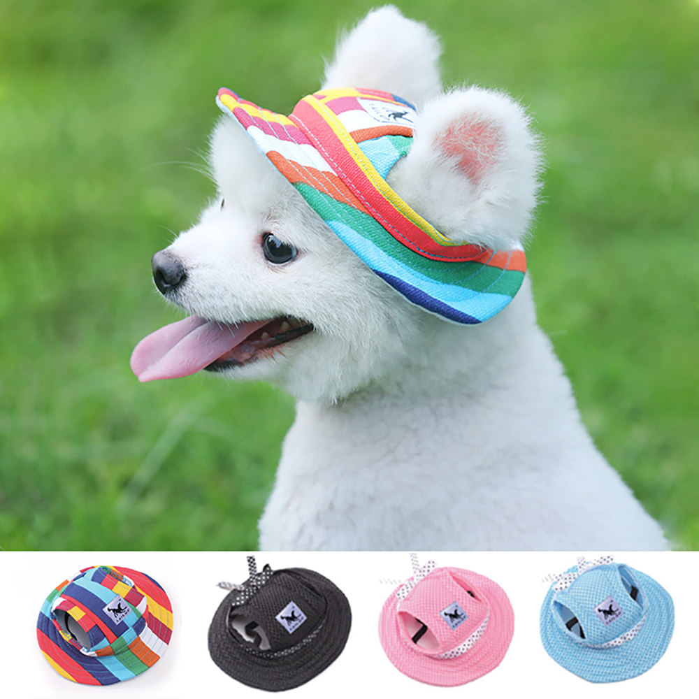 Pet Dog Cat Cap Breathable Summer Sunhat Cloth Mesh Canvas Hat For Small Medium Dogs Cats Caps Pet Products