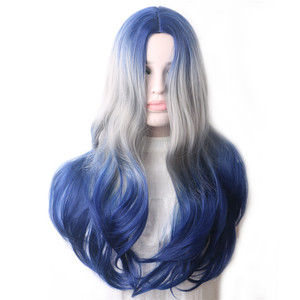 Image 3 - WoodFestival Synthetic Wig Heat Resistant Female Colored Wigs for Women Ombre Blue Grey Purple Green Pink Black Wavy Long Hair