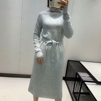 2020 The New Autumn/winter Product Is An Elegant, Belted, High necked Cashmere Dress Long Dress Party Dress