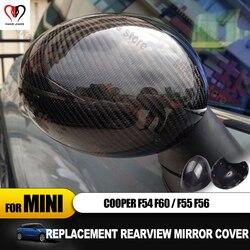Di ricambio Per Mini Cooper F54 F55 F56 F60 Al di Fuori Copertura Dello Specchio retrovisore Cap Borsette Caso in fibra di carbonio adesivo auto Accessori