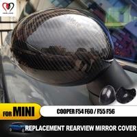 Replacement For Mini Cooper F54 F55 F56 F60 Outside rearview Mirror Cover Cap Shell Case carbon fiber car sticker Accessories