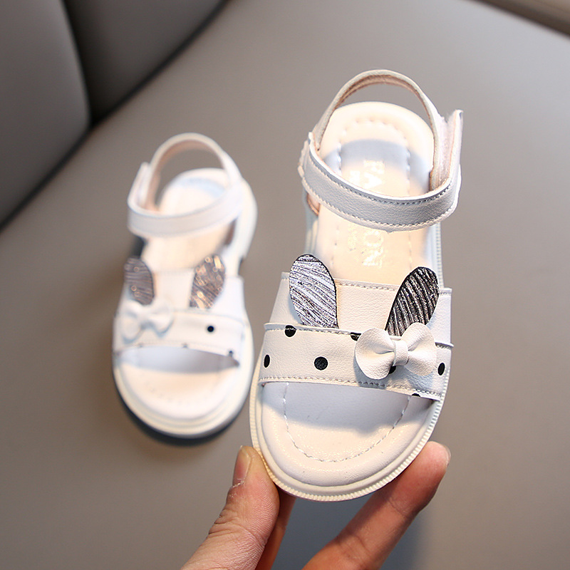 Girls Fashion Bow Sandals Kids Soft Bottom Long Ears Princess Shoes 2020 Summer New Child Baby Outdoor Beach Sandals Size 21-30