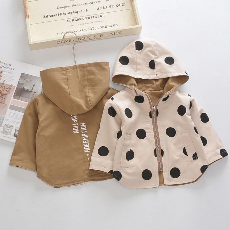 Toddler Newborn Baby Autumn Girls Cute Dot Print Comfort Slim Cotton Jacket Warm Coat Button Hooded Tops 0-4 T