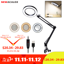 NEWACALOX 5X USB Magnifying Glass with LED Light Flexible Table Clamp Third Hand Soldering/Reading/Jewelry Magnifier Desk Lamp
