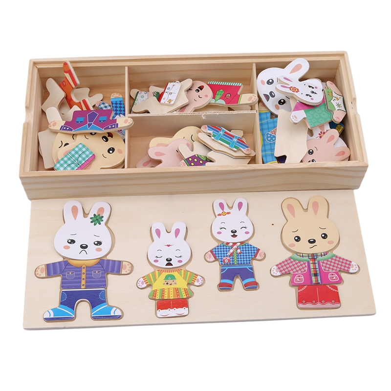 Puzzle Toy Wooden 4 Rabbit Family Locker 3D Puzzle Game Wooden Children Creative Gift Toys