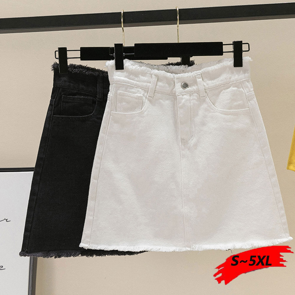 Zipper Mini Denim Skirt Plus Size L XXL XXXL 4XL Skirts Black White A Line Skirts For Mom Girls Short Skirt Mini Jean Skirt