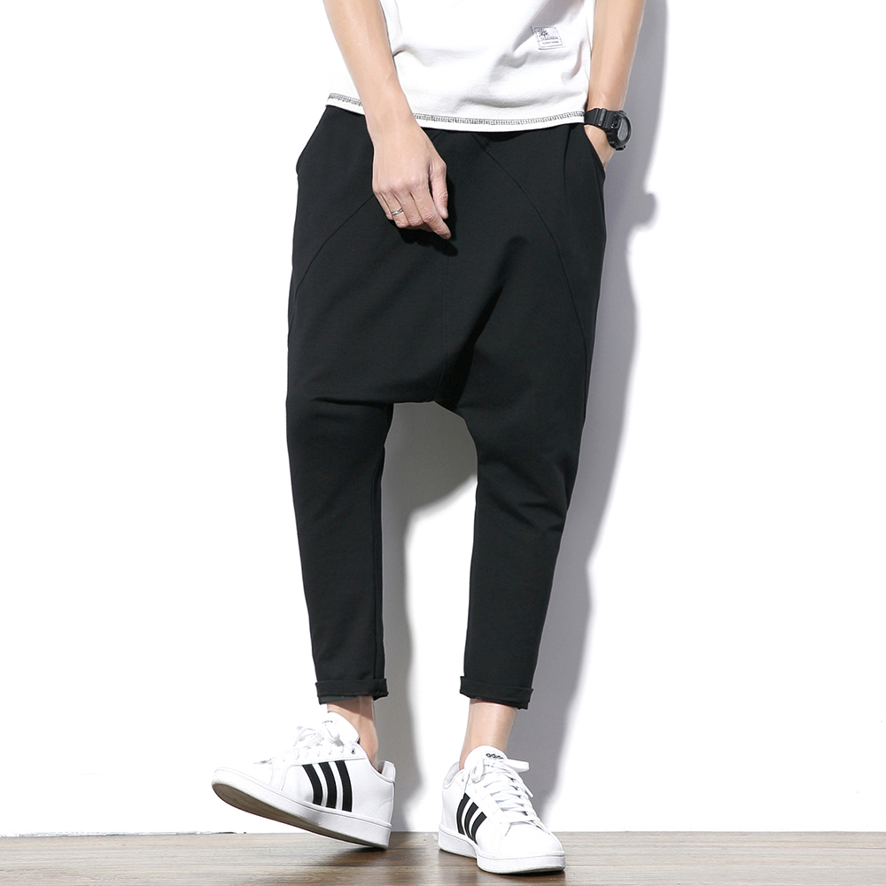 Fashion Black Gray Harem Pants Men Hip Hop Streetwear Baggy Rock Mens Trousers Pants Cotton Stretch Casual Joggers Pants Male