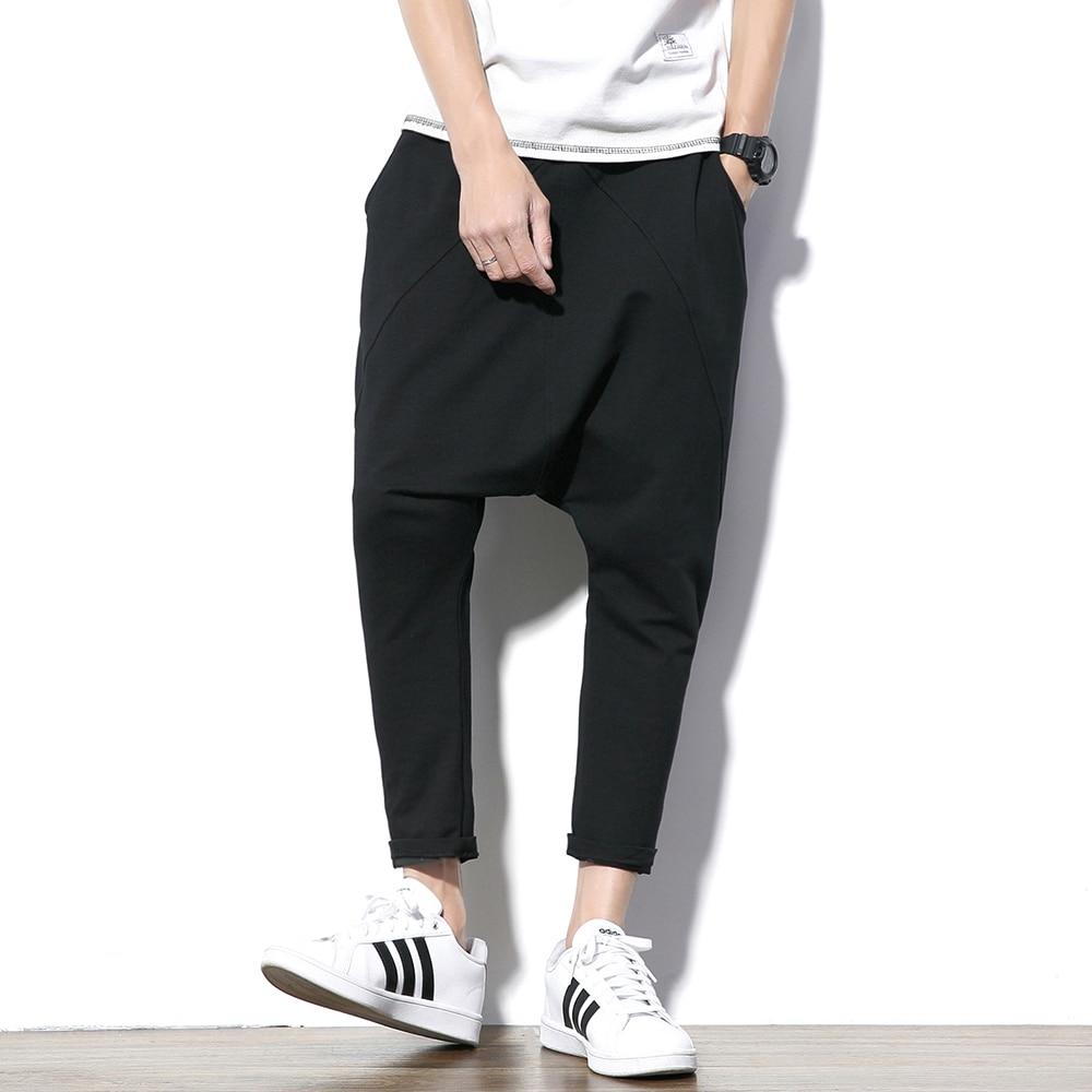 Fashion Black Gray Harem Pants Men Hip Hop Streetwear Baggy Rock  Mens Trousers Pants Cotton Stretch Casual Joggers Pants Malemens harem  pantspants stylestyle pant