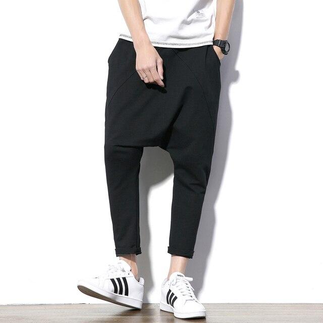 ผู้ชายกางเกง Hip Hop Streetwear ลำลอง Harem กางเกงผู้ชายสีดำสีเทาผ้าฝ้าย Sweatpants Solid Techwear Baggy กางเกงชาย