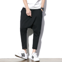 גברים של צלב מכנסיים היפ הופ Streetwear מקרית הרמון מסלול צפצף גברים שחור אפור כותנה מכנסי טרנינג מוצק Techwear בבאגי מכנסיים זכר