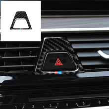 Carbon Fiber M Style Warning Light Button Covers Decal Decoration Car Interior Sticker for BMW 5 Series G30 G38 528i 530i 2018