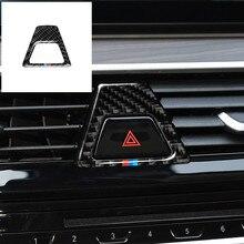 Fibra de carbono m estilo botão luz de advertência cobre decalque decoração interior do carro adesivo para bmw série 5 g30 g38 528i 530i 2018