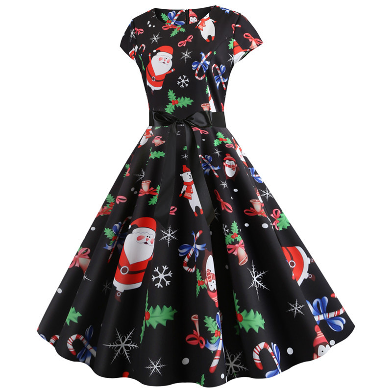 Women Christmas Party Dress robe femme Plus Size Elegant Vintage Short Sleeve Xmas Summer Dress Black Casual Midi Jurken Vestido 726