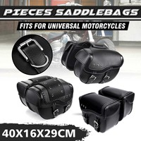 Universal Motorcycle Saddlebag Saddle Bags Storage Luggage Tool Bag PU Leather For Suzuki/Yamaha/Honda