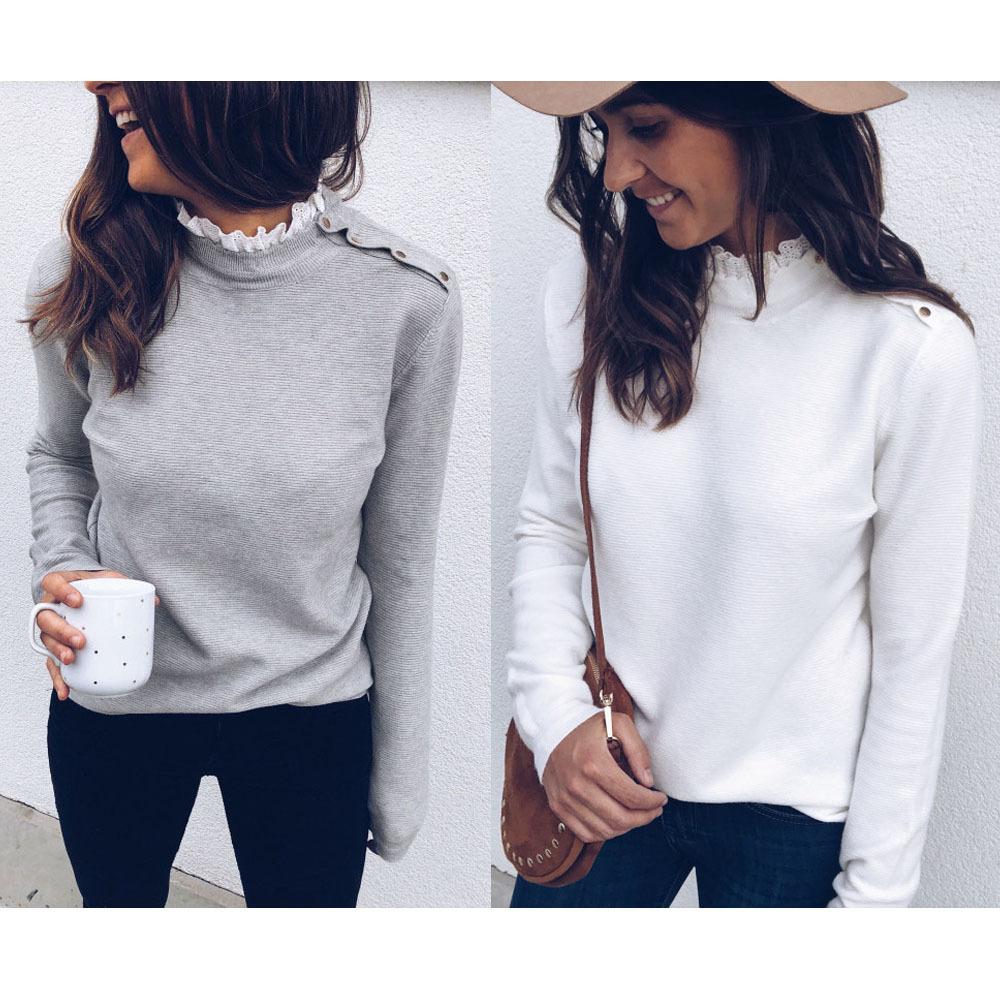 Grey White Casual Tops Lace Patchwork Ruffles O Neck Shoulder Buckle Elegant Pullover 2020 Autumn Winter Knit Sweater Women