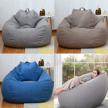 Fashion Large Small Lazy Sofas Cover Chairs Without Filler Linen Cloth Lounger Seat Bean Bag Pouf Puff Couch Tatami Living Room