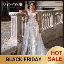 Модное свадебное платье со съемным шлейфом BECHOYER K149, кружевное платье с аппликацией, 3D цветами, Русалка, иллюзия, свадебное платье, Vestido de Noiva