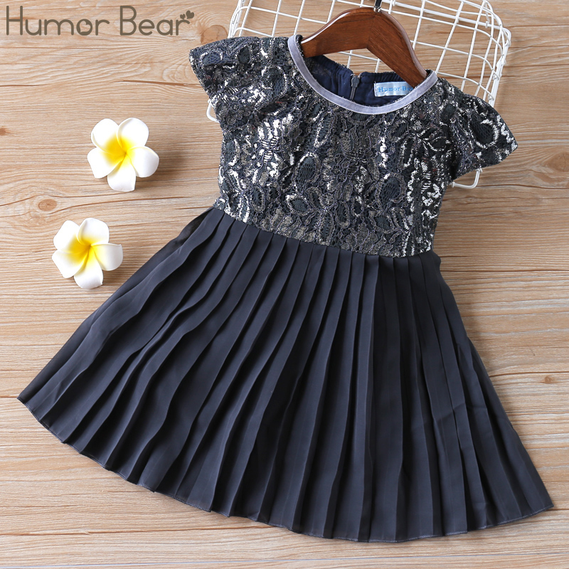Humor Bear 2020  New Girls Summer Dress  Retro Lace Silk Gauze Round Neck Short Sleeve Princess Party  Dresses Children Clothing