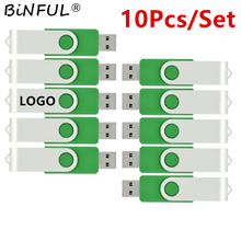 Binfu Usb Flash Drive 10 pz/pacco 512mb 1gb 2gb 4gb 8gb 16gb 32gb 64gb Pendrive metallo girevole Memory Stick pollice guida regali