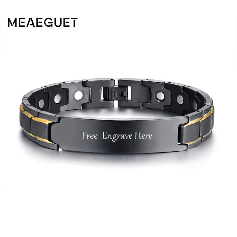 Personalized Men's Stainless Steel Magnetic Health Personal Info Id Bracelet For Men Therapy Biomagnetic Cuff Bangles