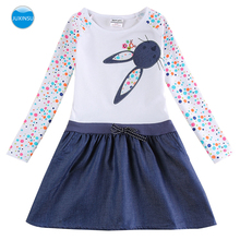 JUXINSU Cotton Casual Girls Long Sleeve Dress Rabbit Head Embroidery Polka Dot Sleeve Denim Dresses Hem Autumn Winter 1-5 Years