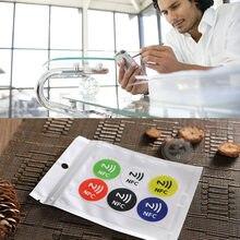 6 pçs impermeável pet material nfc adesivos inteligente ntag213 tags para todos os telefones