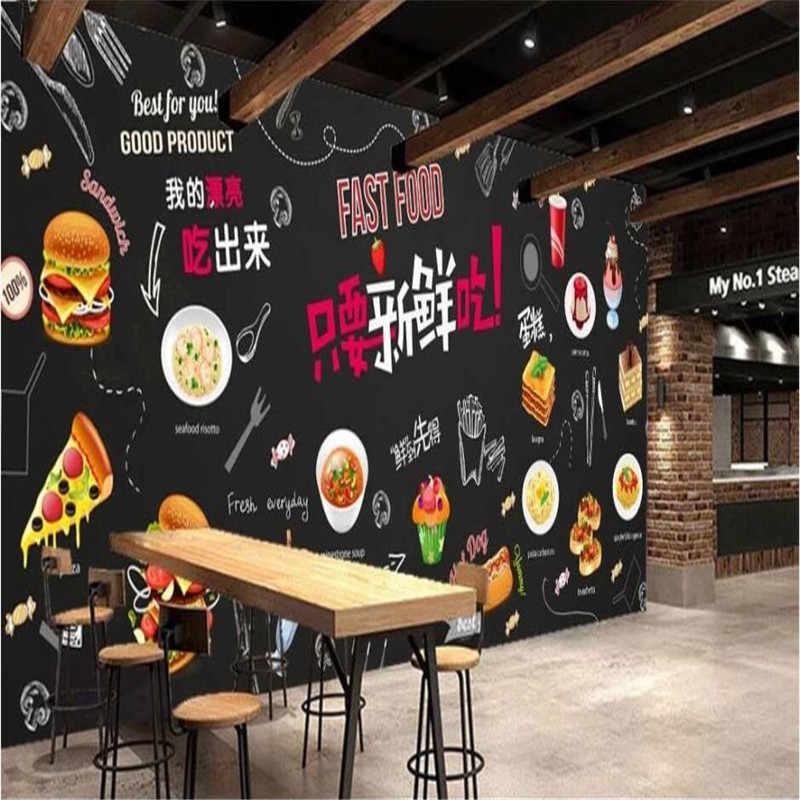 Frieten Cola Burger Muurschildering Behang Voor Fast Food Snack Bar Winkel Westerse Restaurant Industriële Decor Achtergrond Muur Papier 3D