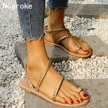 цена на Summer Flip Flops Gladiator Sandals Shoes Beach Cross Sandals Woman Slip On Flats Casual Women Black Gold Shoes Plus Size 35-43