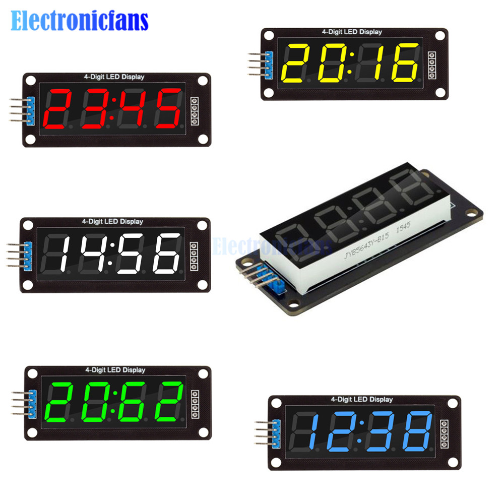 """1 Set 5 di Colore TM1637 0.56 pollici 0.56 """"4-Digit 7 Segmenti Display A LED Digitale Tubo Orologio Doppio dots Modulo per Arduino"""