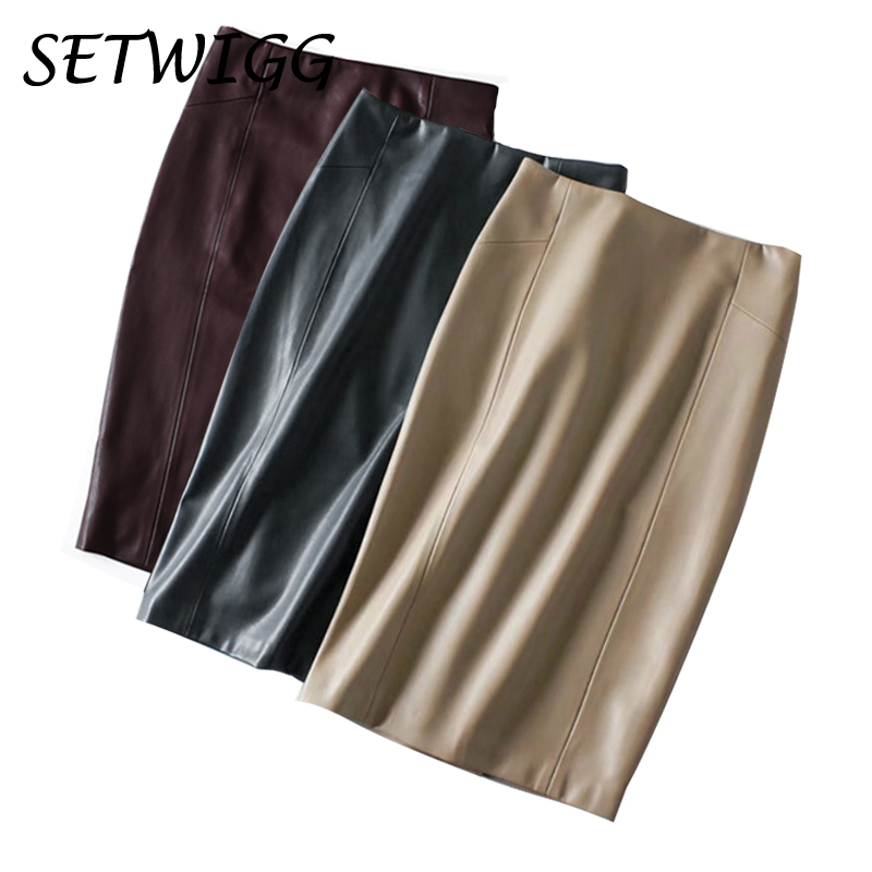 Women Sexy Soft PU Leather Pencil Midi Skirt Autumn Ladies Package Hip Back Split Faux Leather Pencil Skirt Burgundy Coffee