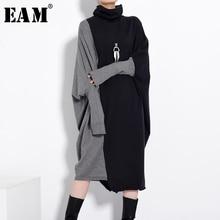 [EAM] Women Black Gray Knitting Big Size Long Dress New Turtleneck Long Sleeve Loose Fit Fashion Tide Autumn Winter 2021 1D67501