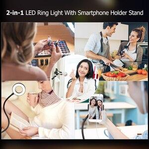 Image 5 - Andoer שני באחד LED טבעת אור עם טלפון סלולרי מחזיק מעמד עבור לחיות זרם איפור Selfie הקלטת תאורה עבור smartphone