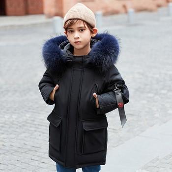 2020 Children's Wear Children's Down Jacket Boys Girls Mid-length Korean Thick Fur Collar