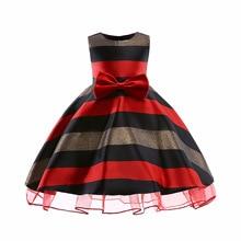 Girs Dress Green Stripes Princess Girls Baby Reception Formal Dresses 2018 New Bowtie Elegant Vestidos