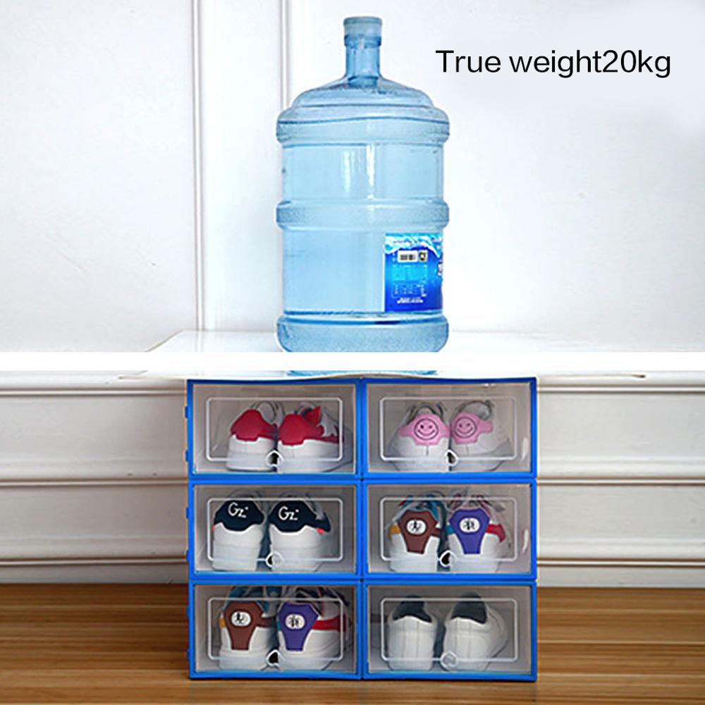 6PCS Transparent and Stackable Shoes Box Organizer of Plastic 2