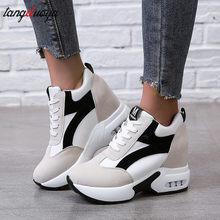 Tênis de plataforma sapatos preto vermelho sapatos casuais das senhoras sapatilhas plataforma saltos sapatos cunha zapatillas mujer 2021