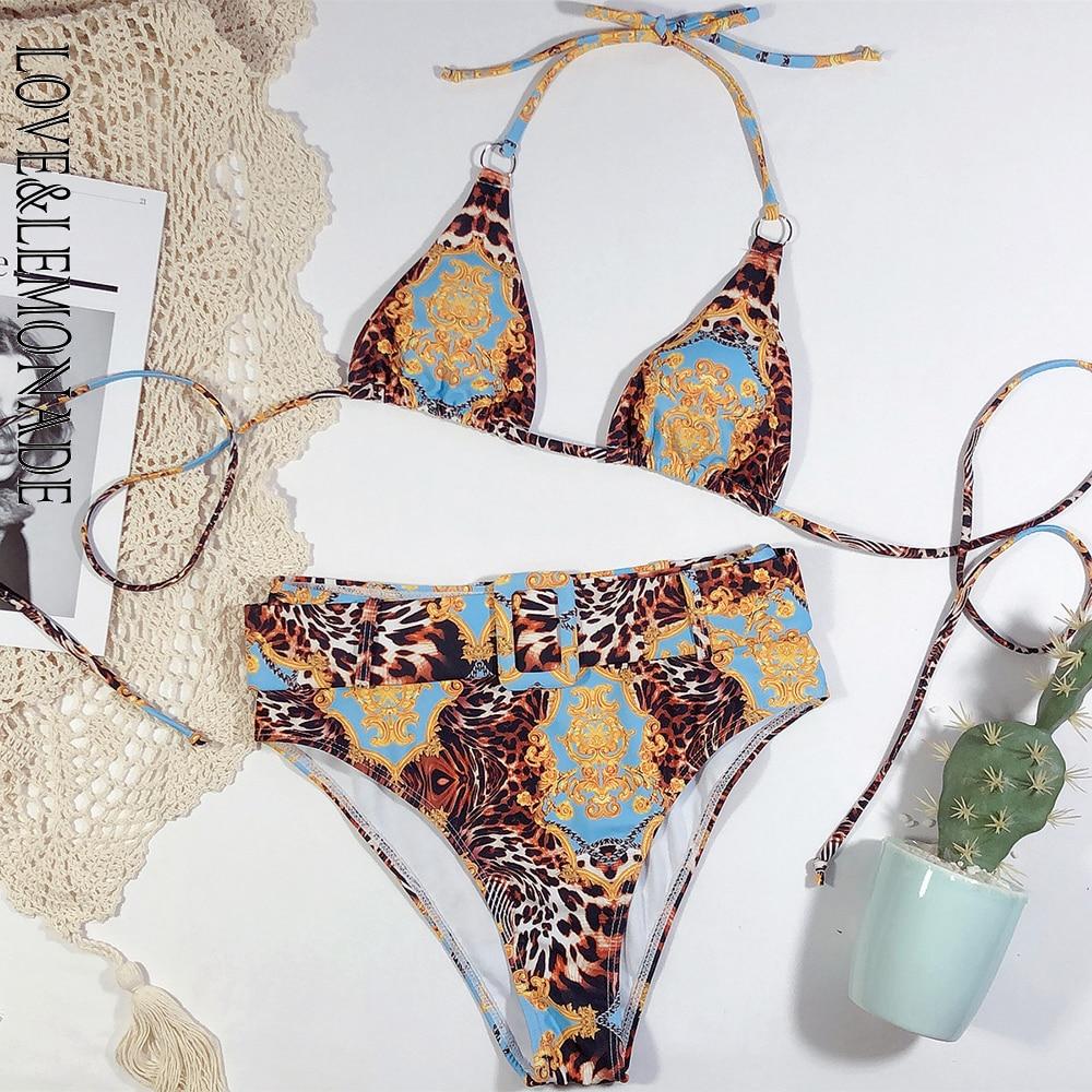 LOVE & LEMONADE Sexy Retro Geometric Pattern Whit Belt High Waist Women'S Bikini Swimsuit LMSW28