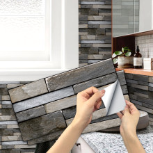 Self-adhesive 6-Sheet Matte Tile Stickers Peel and Stick Vinyl Waterproof Removable Tile Sticker Decals for Bathroom & Kitchen