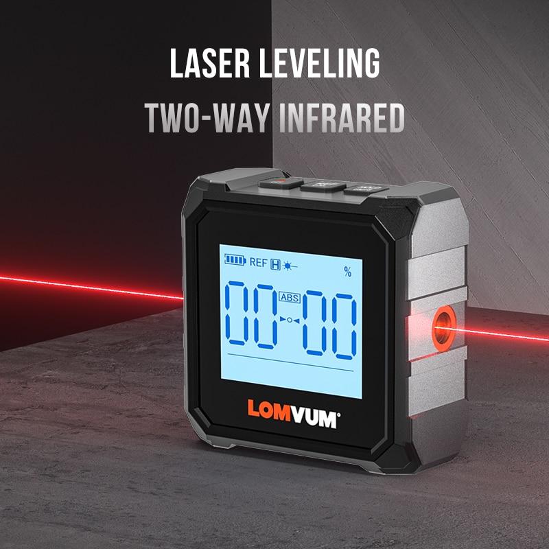Professional Magnetic Laser Inclinometer Ruler Protractor Chargable USB Inclinometer Box LOMVUM Angle Measure Base Digital Level