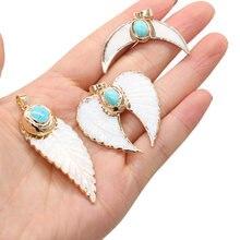 1 stücke Natürliche Stein Charme Anhänger Mond Form Blatt Form Anhänger für DIY Ohrring Halskette oder Schmuck Machen Frauen Schmuck geschenk