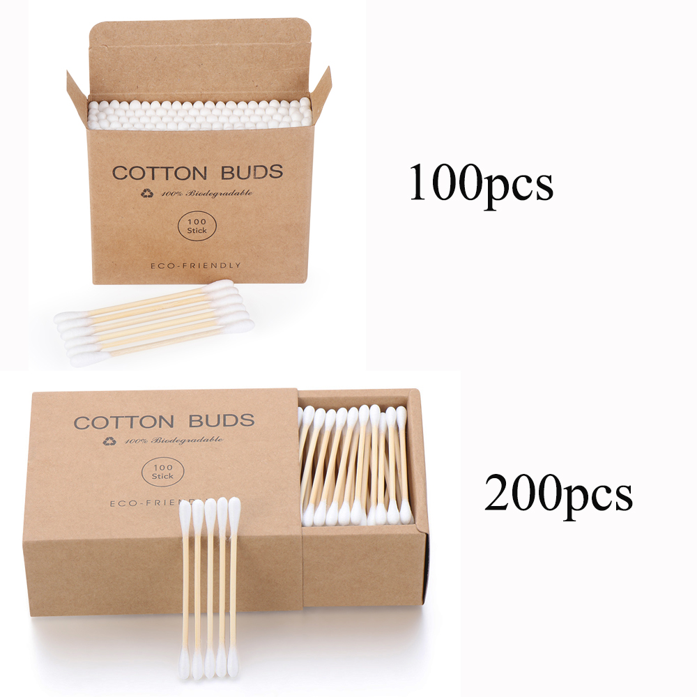 100/200 Pcs Disposable Double Head Bamboo Cotton Swab Wood Sticks  Buds Cotton Nose Ears Cleaning Makeup Beauty Tools