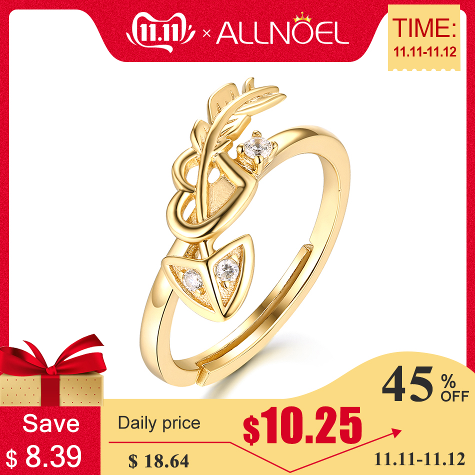 ALLNOEL Real 925 Sterling Silver Zircon Ring For Women Romantic Gold Cupid Love Arrow Heart Ring Valentine's Day Promise Rings
