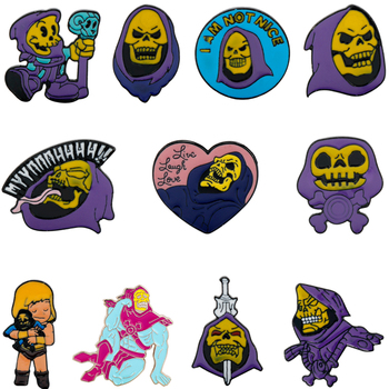 Cartoon Anime He-Man and the Masters of the Universe Skeletor Skull Enamel Pins Brooches for Men Women Halloween Lapel Pin Gifts image