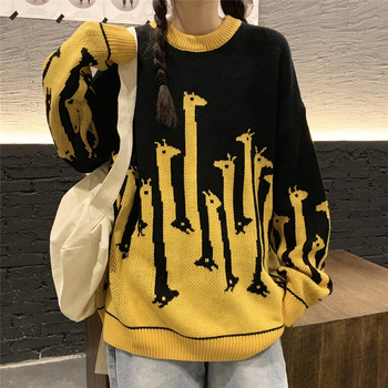 Fashion Giraffe Print Autumn Winter Knitted Sweater Women Korean O Neck Long Sleeve Loose Pullover Thick Knitwear Sweater 2019 spring new women half sleeve loose flavour black dress long summer vestido korean fashion outfit o neck big sale costume