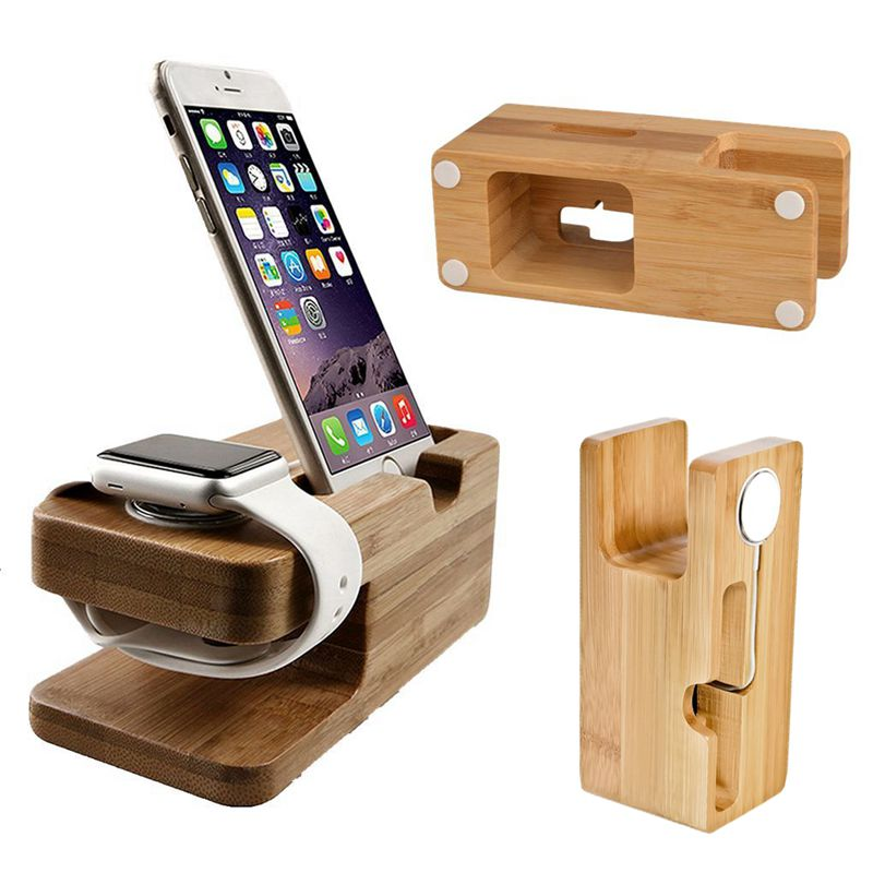 Bamboo Material Charging Dock Base Multifunction Phone Stands Fashion Charger Holder For Apple Watch iPhone