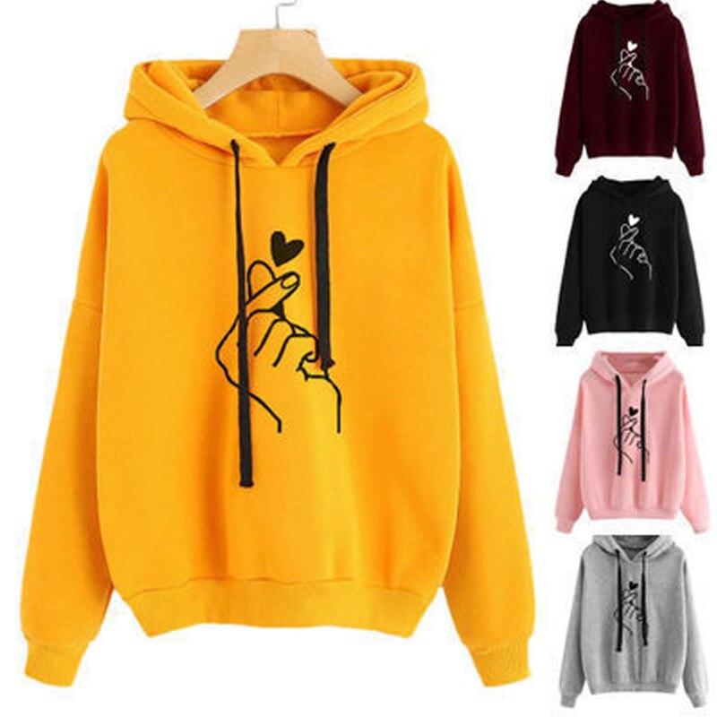 Women's Sweatshirt And Hoody Ladies Oversize K Pop Love Heart Finger Hoody Autumn Casual Harajuku Women Hoodies Sportswear