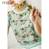 100% Silk Knitted Patched Women Tops 2020 Spring Summer Fashion Printed Short Sleeve Women Shirt and Blouses