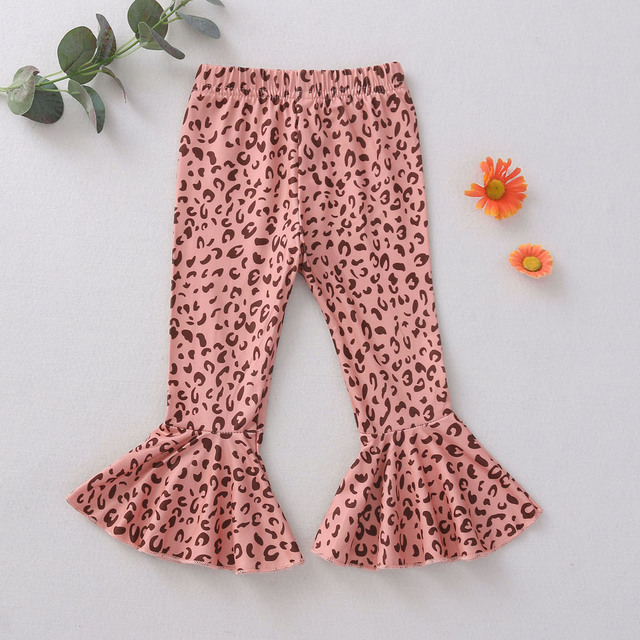 Leopard Printed Wide-Leg Flare Pants for Girls 2